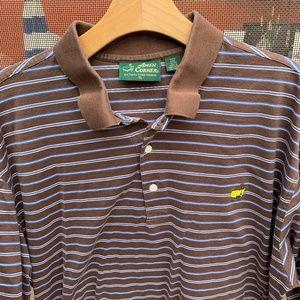 MASTER AMEN CORNER s/s Polo Shirt Brown Striped XL